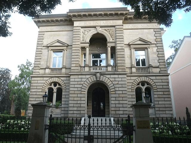 Blick auf die Villa im Palladiostil