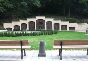 rekonstruierte Schmuckmauer des Draitschbrunnens