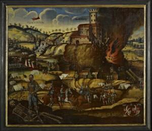 """Tegernseer Gemälde """"Zerstörung der Godesburg"""""""